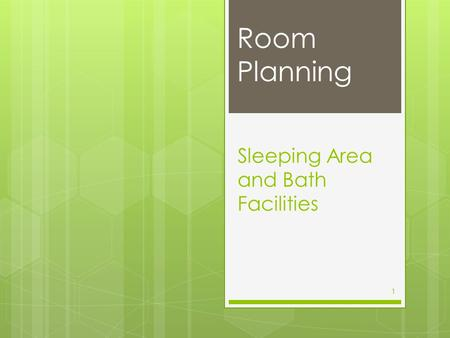 Sleeping Area and Bath Facilities