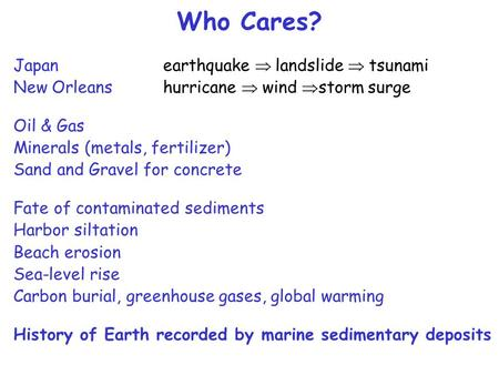 Who Cares? Japan earthquake  landslide  tsunami New Orleanshurricane  wind  storm surge Oil & Gas Minerals (metals, fertilizer) Sand and Gravel for.