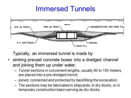 Immersed Tunnels Typically, an immersed tunnel is made by