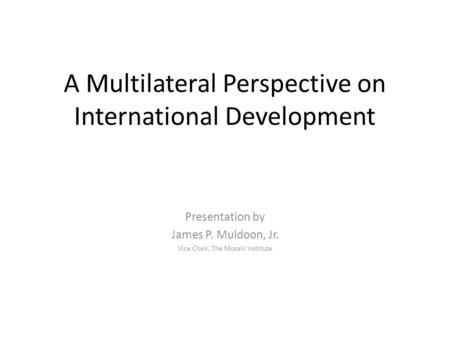 A Multilateral Perspective on International Development Presentation by James P. Muldoon, Jr. Vice Chair, The Mosaic Institute.