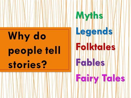 MythsLegendsFolktalesFables Fairy Tales. Myth is the general term for any type of story that has a deep cultural meaning. The genre of Myths include: