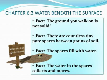 CHAPTER 6.3 WATER BENEATH THE SURFACE