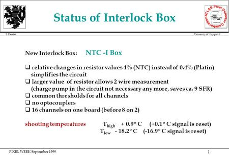 PIXEL WEEK September 1999 S. Kersten University of Wuppertal 1 Status of Interlock Box New Interlock Box: NTC -I Box q relative changes in resistor values.