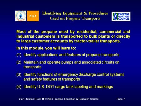 Identifying Equipment & Procedures Used on Propane Transports