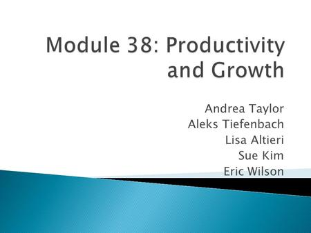 Module 38: Productivity and Growth