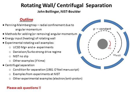 Rotating Wall/ Centrifugal Separation John Bollinger, NIST-Boulder Outline ● Penning-Malmberg trap – radial confinement due to angular momentum ● Methods.