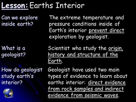 Lesson: Lesson:Earths Interior Can we explore inside earth? The extreme temperature and pressure conditions inside of Earth's interior prevent direct exploration.
