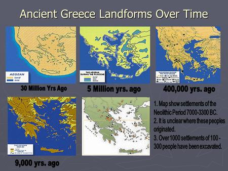 Ancient Greece Landforms Over Time. Migrations that Populated Greece & Helped to Spread Greek Thought.