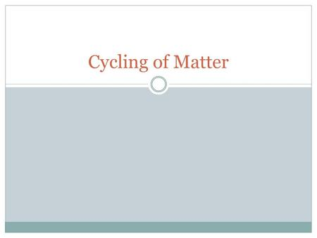 Cycling of Matter. Recap: Environment: all abiotic and biotic factors that exist on Earth as well as their interactions Abiotic: non-living factors Biotic: