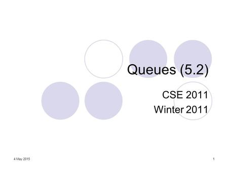 1 Queues (5.2) CSE 2011 Winter 2011 4 May 2015. Announcements York Programming Contest https://wiki.cse.yorku.ca/project/ACM/ Link also available from.