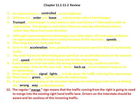 chapter 11 activity 11.1 drivers ed answers
