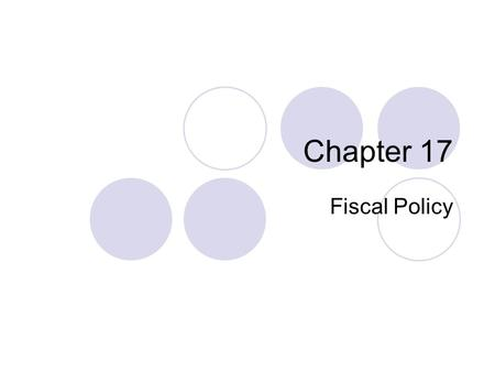 Chapter 17 Fiscal Policy. Fiscal Policy and the Budget Process Fiscal policy is the government's policy with respect to its budget position (G-T) Ceteris.