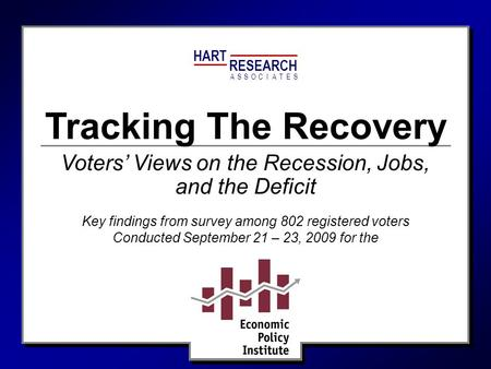 HART RESEARCH ASSOTESCIA Tracking The Recovery Key findings from survey among 802 registered voters Conducted September 21 – 23, 2009 for the Voters' Views.