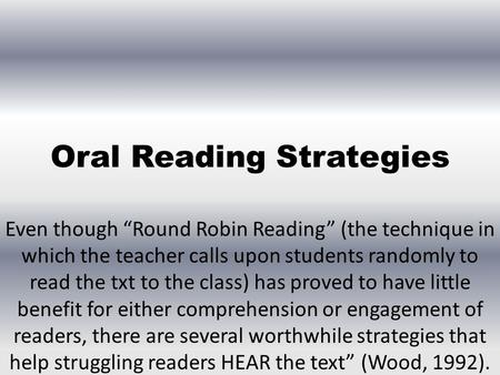 Oral Reading Strategies