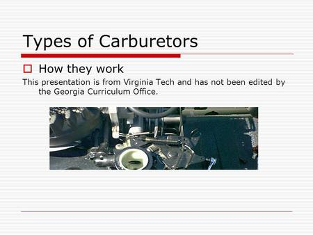 Types of Carburetors How they work