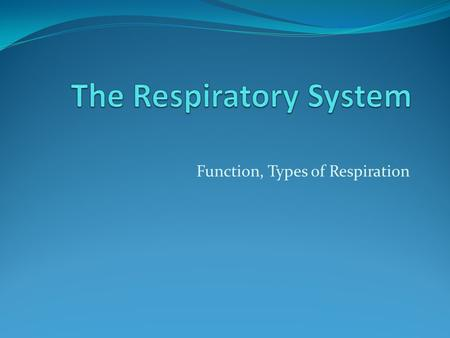 Function, Types of Respiration. Respiration External Respiration: exchange of gases between air in the lungs and in the blood Internal Respiration: exchange.