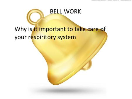BELL WORK Why is it important to take care of your respiritory system.