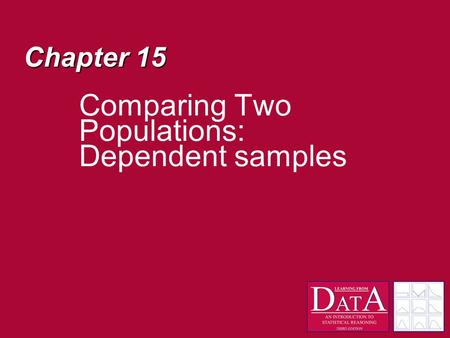 Chapter 15 Comparing Two Populations: Dependent samples.