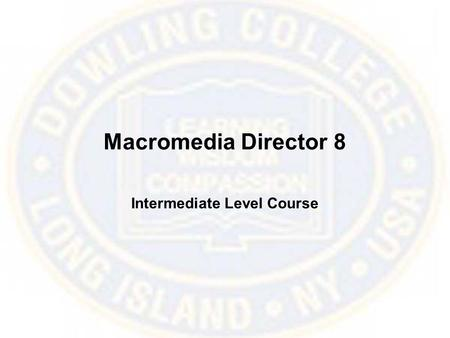 Macromedia Director 8 Intermediate Level Course. Ink Masks Using the Ink Mask feature will allow you to create parts of a bitmap cast member to become.