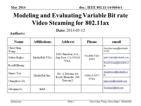Doc.: IEEE 802.11-14/0604r1 Submission May 2014 Slide 1 Modeling and Evaluating Variable Bit rate Video Steaming for 802.11ax Date: 2014-05-12 Authors: