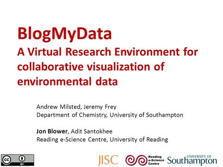 BlogMyData A Virtual Research Environment for collaborative visualization of environmental data Andrew Milsted, Jeremy Frey Department of Chemistry, University.