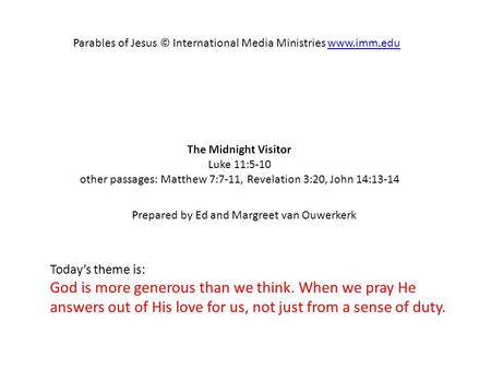 Parables of Jesus © International Media Ministries