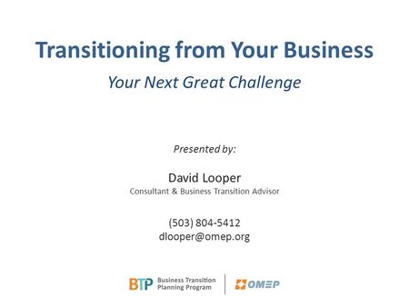 OMEP BTP Breakfast Presentation Slides