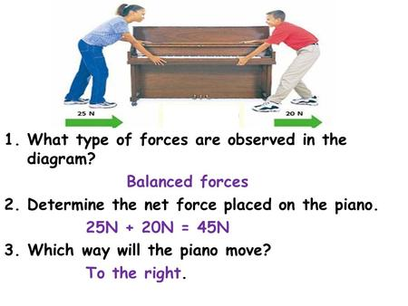 1.What type of forces are observed in the diagram? Balanced forces 2.Determine the net force placed on the piano. 25N + 20N = 45N 3. Which way will the.
