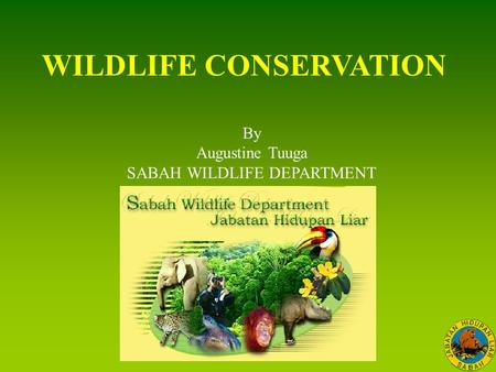 <strong>WILDLIFE</strong> <strong>CONSERVATION</strong> By Augustine Tuuga SABAH <strong>WILDLIFE</strong> DEPARTMENT.