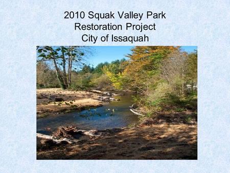 2010 Squak Valley Park Restoration Project City of Issaquah.