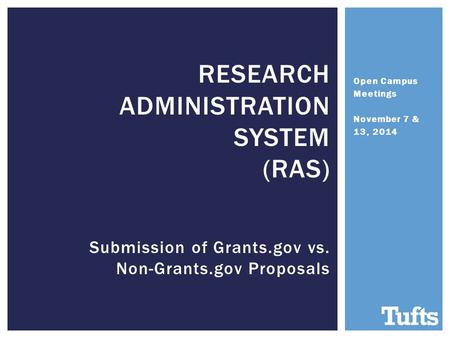 Open Campus Meetings November 7 & 13, 2014 RESEARCH ADMINISTRATION SYSTEM (RAS) Submission of Grants.gov vs. Non-Grants.gov Proposals.