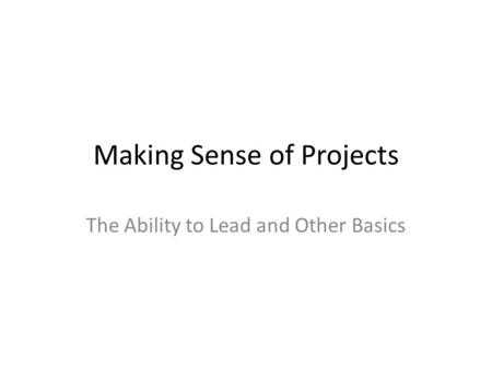 Making Sense of Projects The Ability to Lead and Other Basics.
