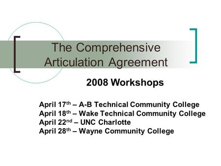 2008 Workshops April 17 th – A-B Technical Community College April 18 th – Wake Technical Community College April 22 nd – UNC Charlotte April 28 th – Wayne.