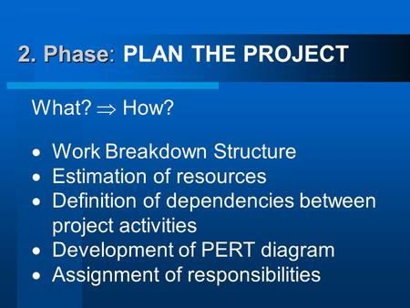 2. Phase: 2. Phase: PLAN THE PROJECT What?  How?  Work Breakdown Structure  Estimation of resources  Definition of dependencies between project activities.