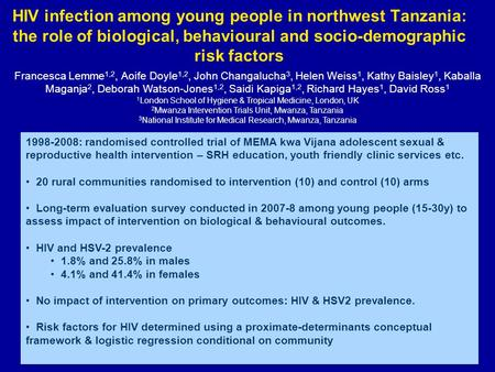 HIV infection among young people in northwest Tanzania: the role of biological, behavioural and socio-demographic risk factors 1998-2008: randomised controlled.