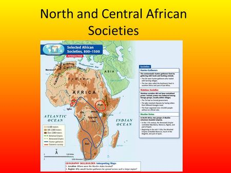 North and Central African Societies. Setting the Stage Throughout history, different groups of Africans have found different ways to organize themselves.
