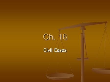 Ch. 16 Civil Cases.