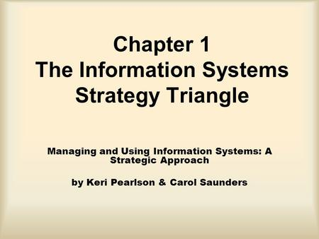 Chapter 1 The Information Systems Strategy Triangle