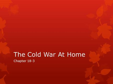 The Cold War At Home Chapter 18-3.
