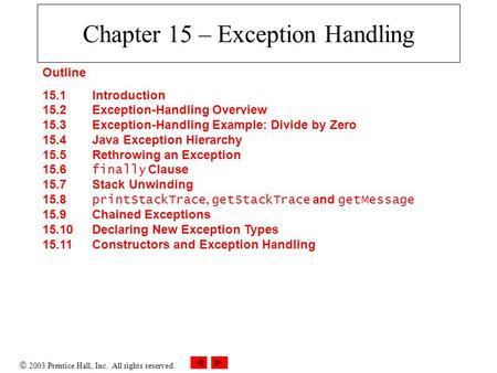  2003 Prentice Hall, Inc. All rights reserved. Chapter 15 – Exception Handling Outline 15.1 Introduction 15.2 Exception-Handling Overview 15.3 Exception-Handling.