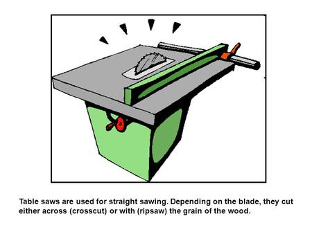 Table saws are used for straight sawing. Depending on the blade, they cut either across (crosscut) or with (ripsaw) the grain of the wood.
