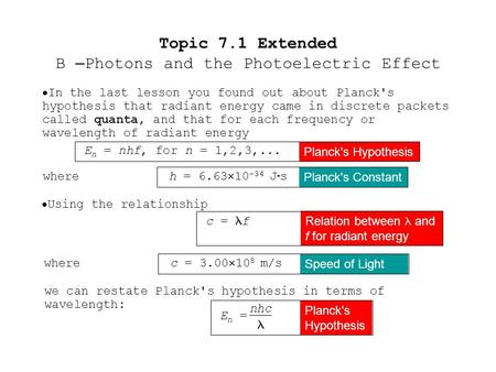  In the last lesson you found out about Planck's hypothesis that radiant energy came in discrete packets called quanta, and that for each frequency or.