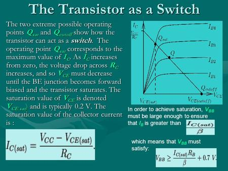 The Transistor as a Switch The two extreme possible operating points Q sat and Q cutoff show how the transistor can act as a switch. The operating point.