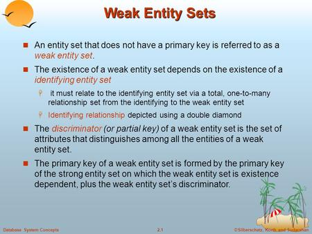 Weak Entity Sets An entity set that does not have a primary key is referred to as a weak entity set. The existence of a weak entity set depends on the.