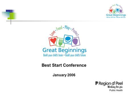 Best Start Conference January 2006. Peel Health Great Beginnings Initiative  In 1999, McCain and Mustard's Early Years Study documented the importance.