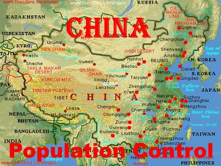China china Population Control. China believes its population control policies are important if living standards throughout the country are to be improved.
