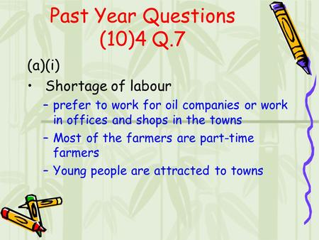 Past Year Questions (10)4 Q.7 (a)(i) Shortage of labour –prefer to work for oil companies or work in offices and shops in the towns –Most of the farmers.