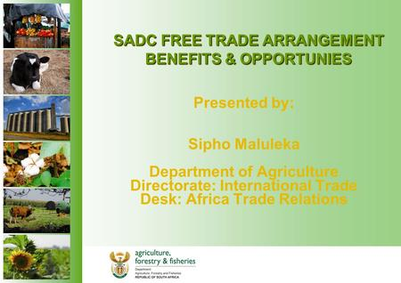 SADC FREE TRADE ARRANGEMENT BENEFITS & OPPORTUNIES Presented by: Sipho Maluleka Department of Agriculture Directorate: International Trade Desk: Africa.
