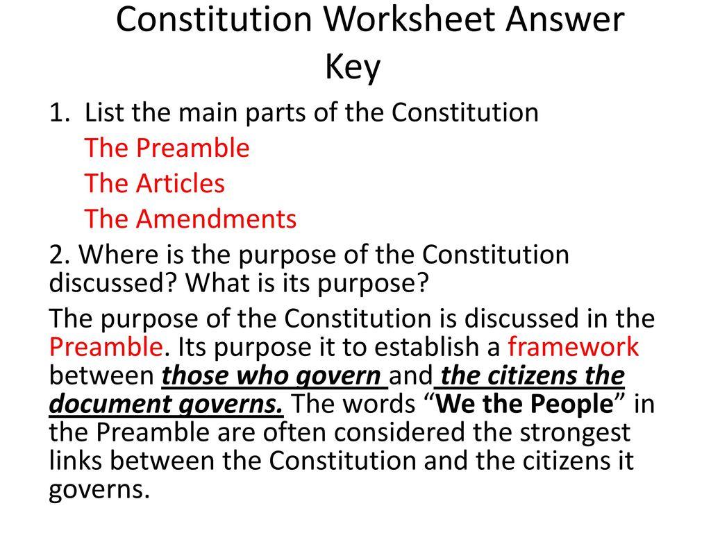Constitution Worksheet Answer Key - ppt download With The Us Constitution Worksheet Answers
