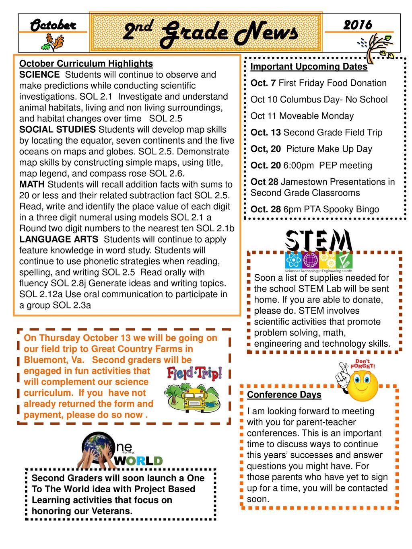 2nd Grade News October 2016 October Curriculum Highlights Ppt Download